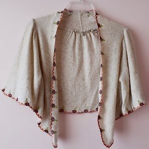 Anthro Knitted & Knotted Floral Shrug Cardigan
